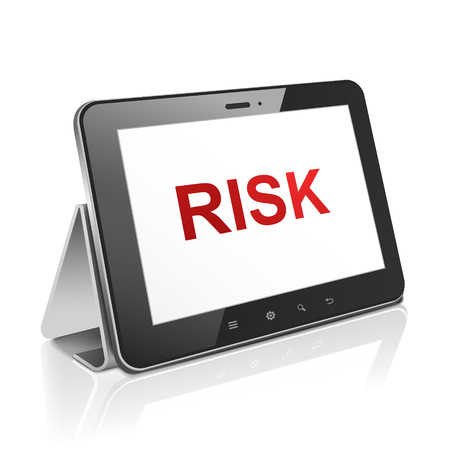 tablet computer with text risk on display over white Stock Vector - 30654928