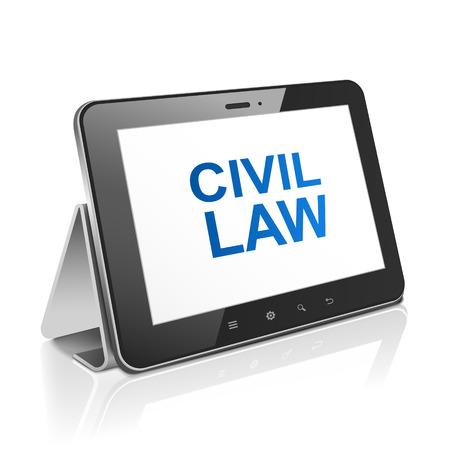civil: tablet computer with text civil law on display over white  Illustration