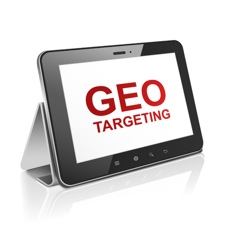 targeting: tablet computer with text GEO targeting on display over white  Illustration