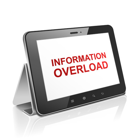 overload: tablet computer with text information overload on display over white