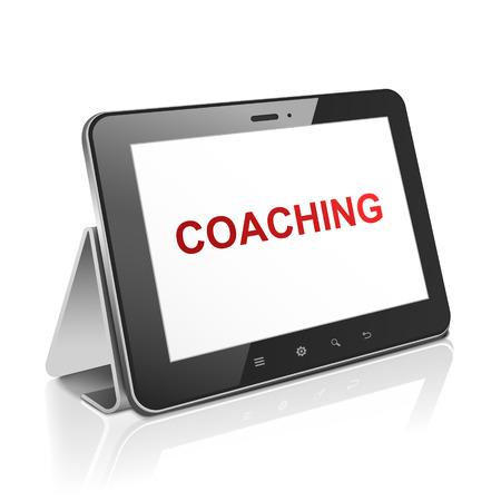 coaching: ordinateur tablette avec un texte sur l'encadrement affichage sur blanc