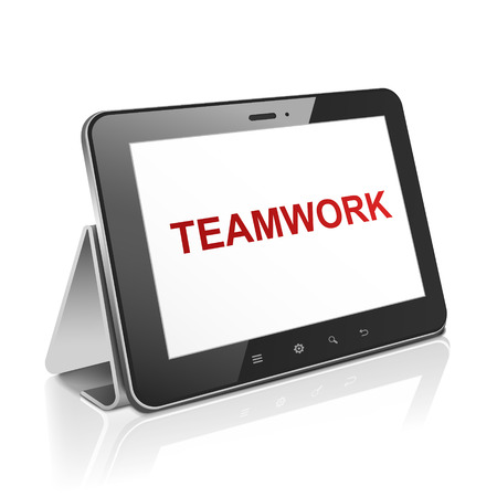 tablet computer with text teamwork on display over white  Stock Vector - 30654733