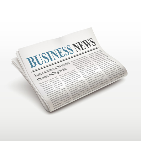 news paper: business news words on newspaper over white background