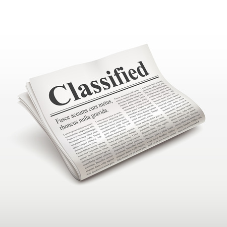 broadsheet: classified words on newspaper over white background