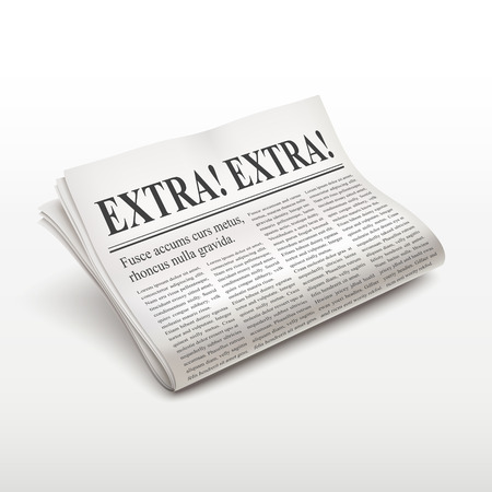 pile of newspapers: extra extra words on newspaper over white background Illustration