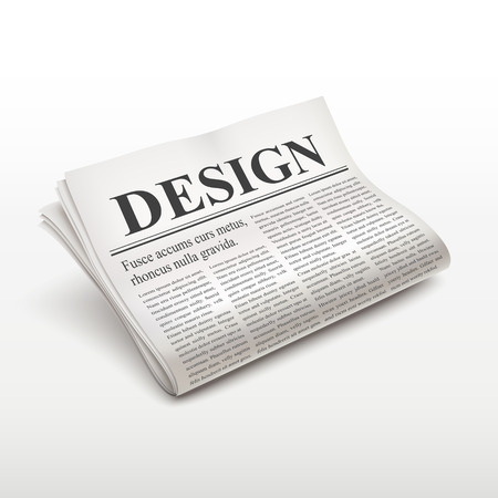 pile of newspapers: design word on newspaper over white background
