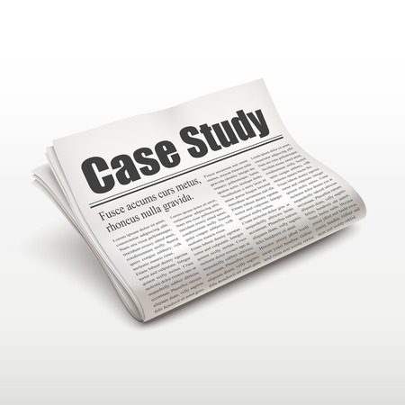 case study: case study words on newspaper over white background Illustration