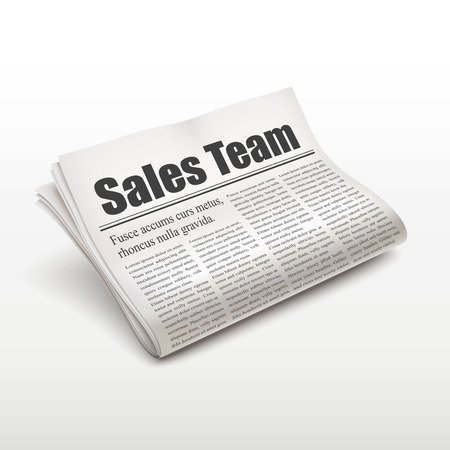 sales team: sales team words on newspaper over white background