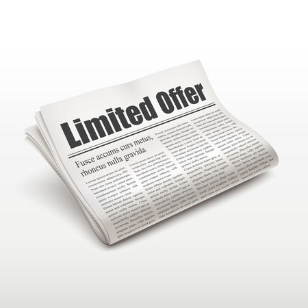 pile of newspapers: limited offer words on newspaper over white background Illustration
