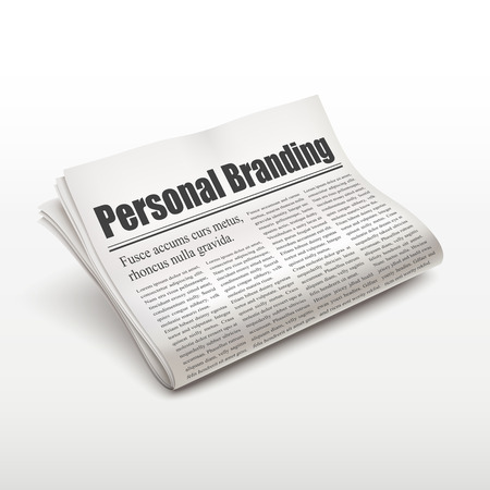 pile of newspapers: personal branding words on newspaper over white background Illustration