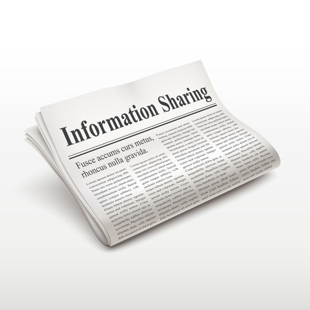 pile of newspapers: information sharing words on newspaper over white background