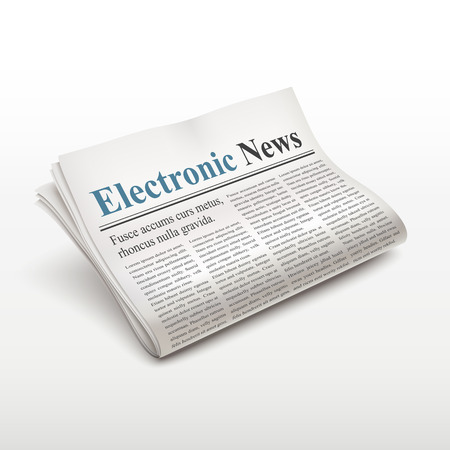 broadsheet: electronic news words on newspaper over white background