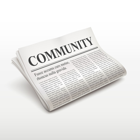broadsheet: community word on newspaper over white background
