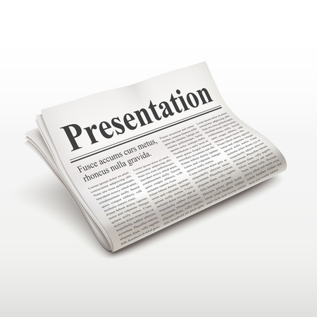 pile of newspapers: presentation words on newspaper over white background