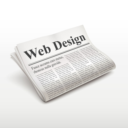 pile of newspapers: web design words on newspaper over white background