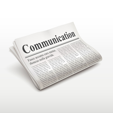 pile of newspapers: communication word on newspaper over white background Illustration
