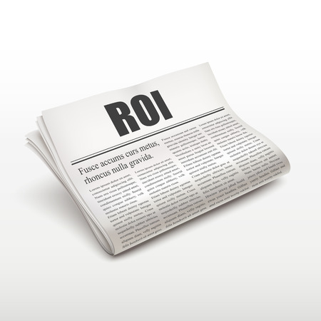 ROI word on newspaper over white background