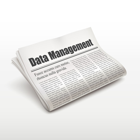 pile of newspapers: data management words on newspaper over white background Illustration