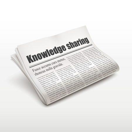 broadsheet: knowledge sharing words on newspaper over white background