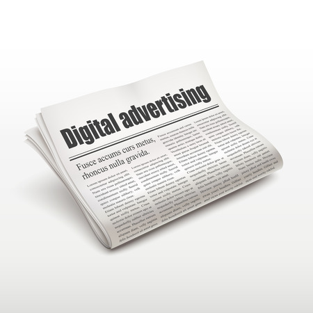 broadsheet: digital advertising words on newspaper over white background