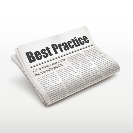 newsprint: best practice words on newspaper over white background Illustration