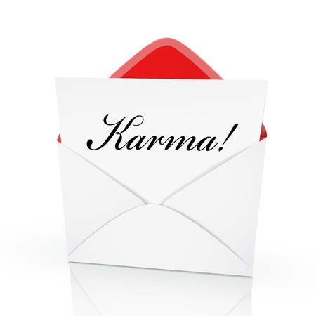 karmic: the word karma on a card in an envelope  Illustration