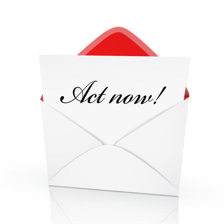 the words act now on a card in an envelope  Vector