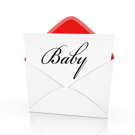 glorify: the word baby on a card in an envelope  Illustration