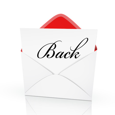 missive: the word back on a card in an envelope