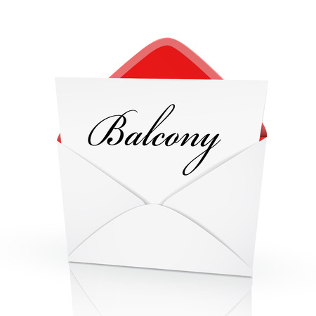 porch chair: the word balcony on a card in an envelope  Illustration