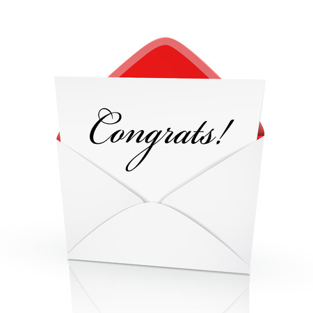 achiever: the word congrats on a card in an envelope