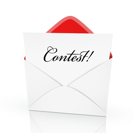 vying: the word contest on a card in an envelope Illustration