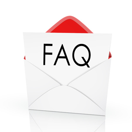 interrogate: the word FAQ on a card in an envelope