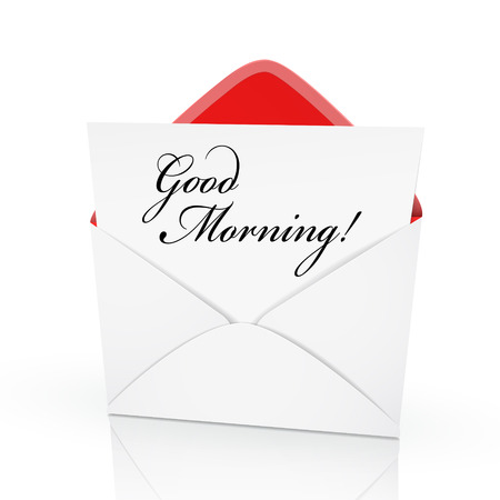 get up: the words good morning on a card in an envelope