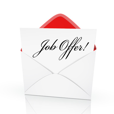 winning proposal: the words job offer on a card in an envelope Illustration