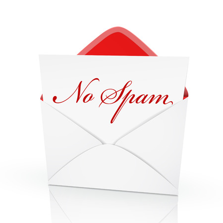 spammer: the words no spam on a card in an envelope  Illustration