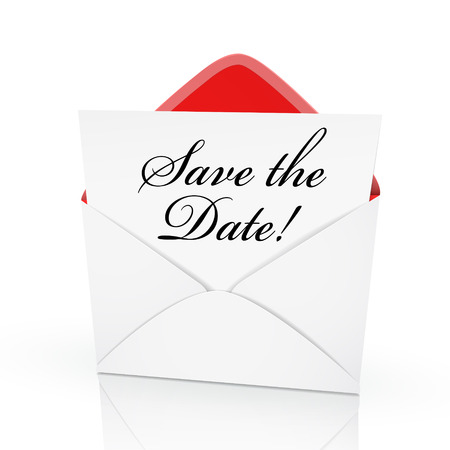 the words save the date on a card in an envelope  Vectores