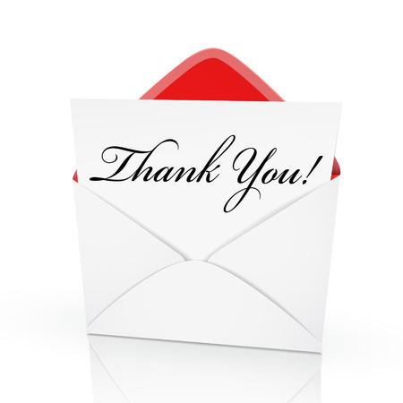 agradecimiento: las palabras de agradecimiento en una carta en un sobre