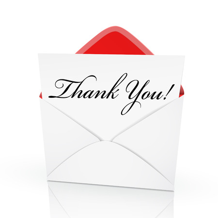 the words thank you on a card in an envelope Reklamní fotografie - 30689738