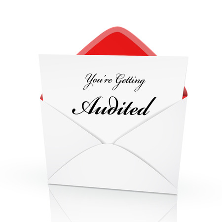 the words you are getting audited on a card in an envelope  Vector