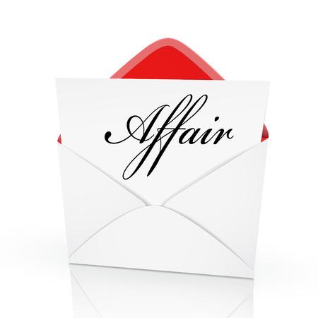 affair: the word affair on a card in an envelope