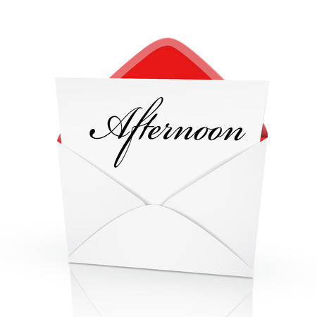 the word afternoon on a card in an envelope