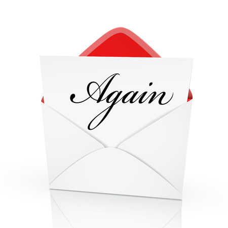 again: the word again on a card in an envelope