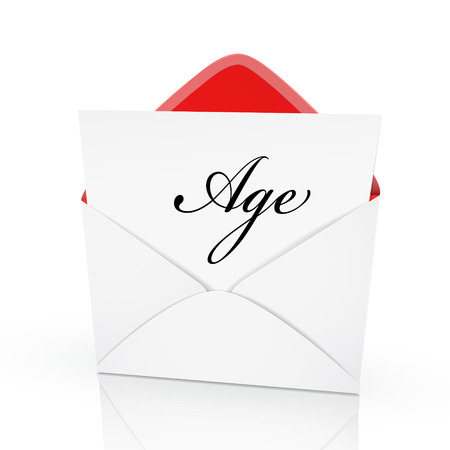 the word age on a card in an envelope