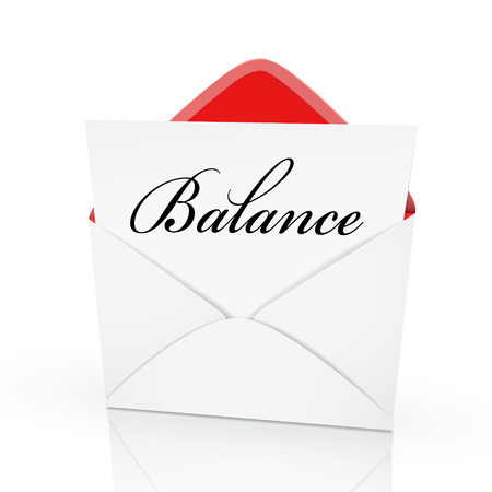counterpoise: the word balance on a card in an envelope