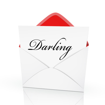 the darling: the word darling on a card in an envelope