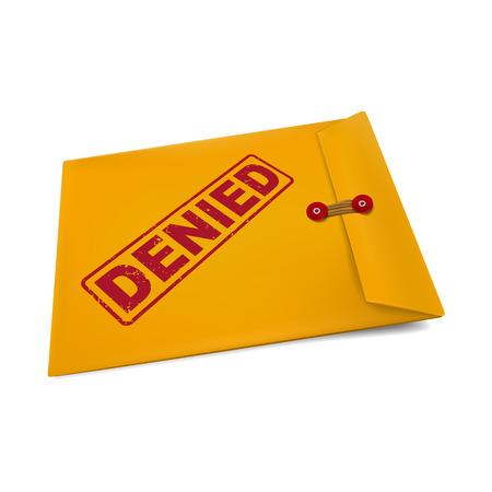 denied: negado sello en el sobre de manila aislado en blanco