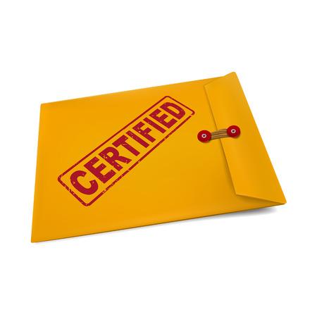 autoriser: timbre certifi� sur enveloppe en papier kraft isol� sur blanc Illustration
