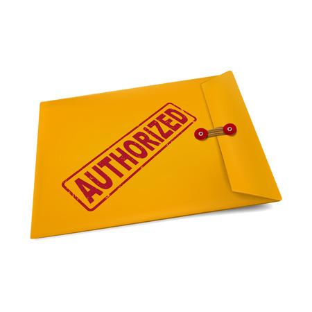 authorized stamp on manila envelope isolated on white Vector