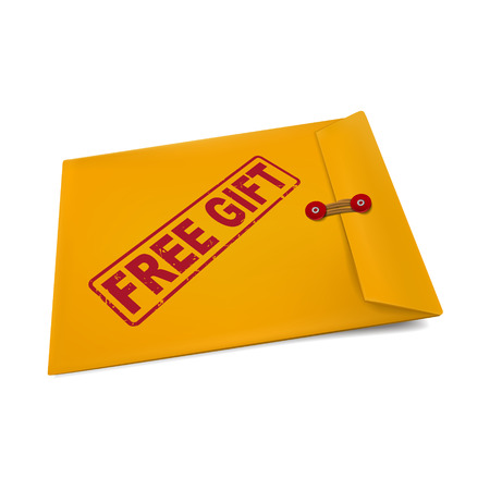free gift: free gift stamp on manila envelope isolated on white